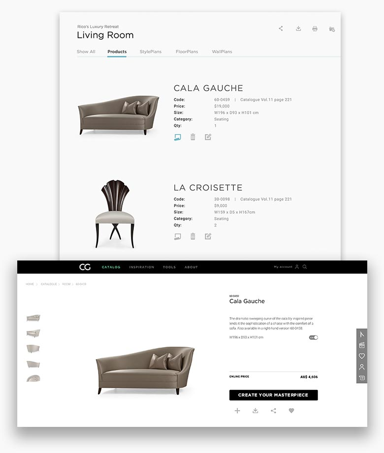 Organize proposals by projects. Create custom project files with product descriptions, fabric descriptions and codes.